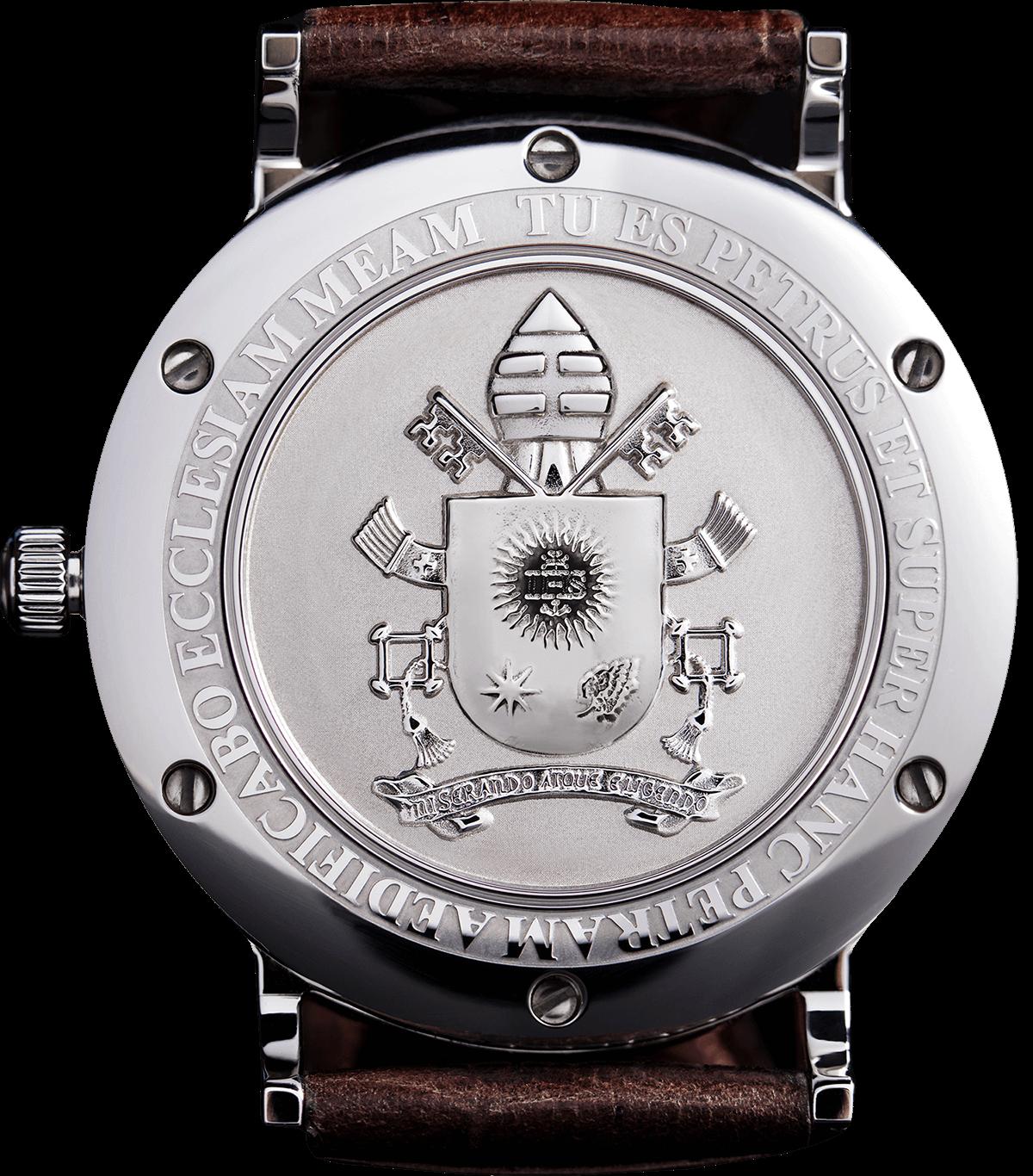 Petrus, orologio di Papa Francesco con stemma del Vaticano, vista del retro con stemma papale