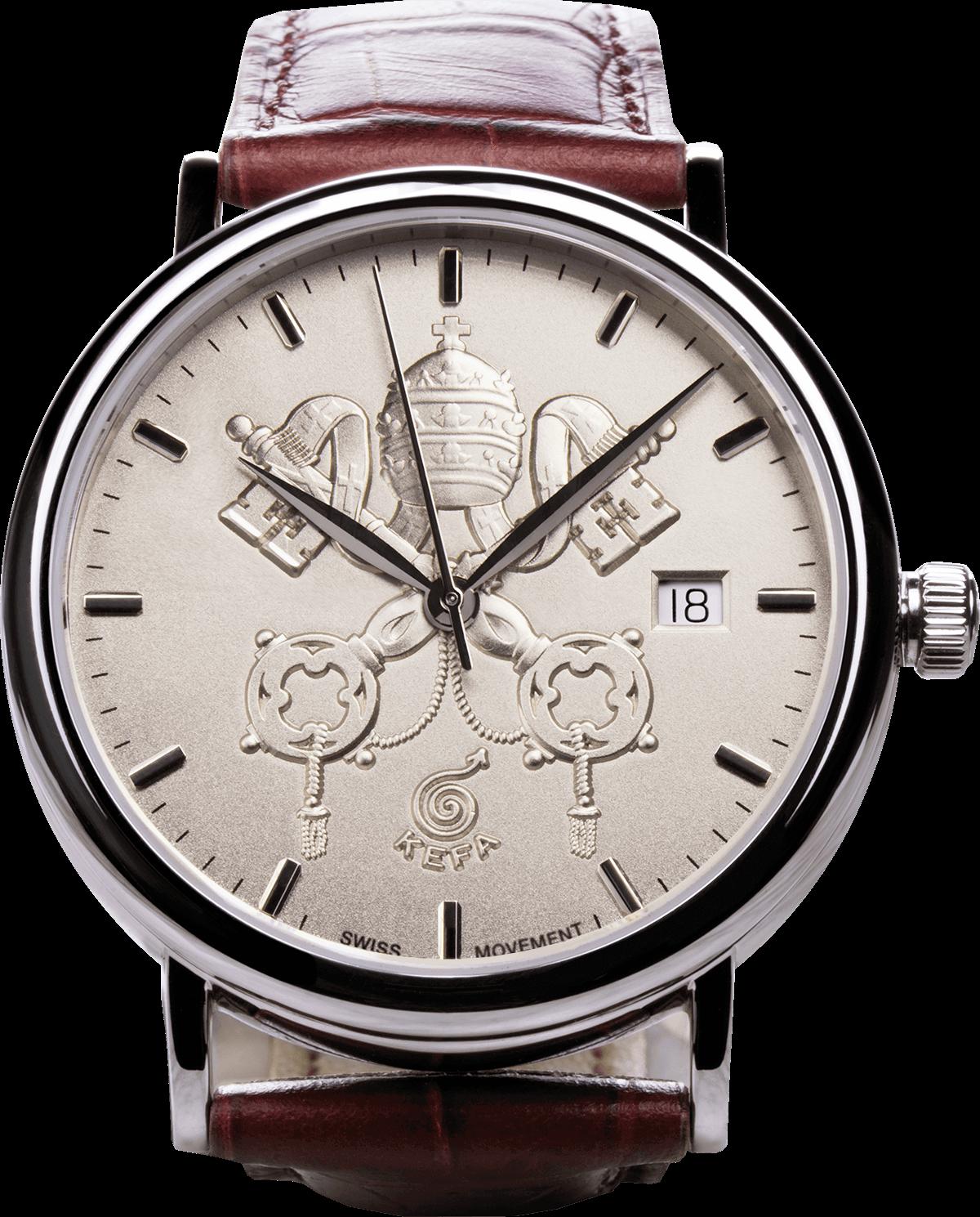 Petrus, orologio di Papa Francesco con stemma del Vaticano, vista frontale